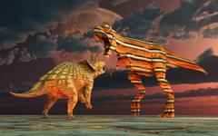 Robotic T. Rex & Triceratops battle to the finish. - stock illustration