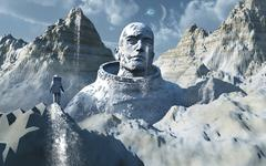 A lone astronaut stares at a statue of a mysterious humanoid being. - stock illustration