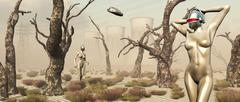 Robots walking about a landscape destroyed by pollution. Stock Illustration