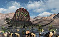 A sail-backed Dimetrodon from Earth's Permian period of time. Stock Illustration