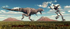 Science fiction scene of a Tyrannosaurus Rex battling a giant robot. Stock Illustration