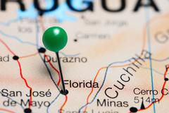 Florida pinned on a map of Uruguay Stock Photos