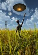 An alien being directing a UFO in making crop circles. Stock Illustration