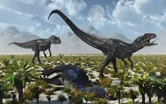A pair of Allosaurus dinosaurs kill a Camptosaurus dinosaur. Stock Illustration
