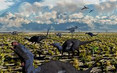 An Allosaurus attacking a herd of Camptosaurus dinosaurs. Stock Illustration