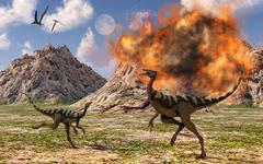 Pelecanimimus dinosaurs fleeing from a volcanic eruption. Stock Illustration