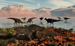 Herd of Corythosaurus duckbill dinosaurs grazing. Stock Illustration