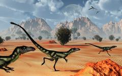 A pack of dilong tyrannosaurid dinosaurs hunting. Piirros
