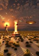 An alien returning to the famous crash site in Roswell, New Mexico. Stock Illustration