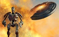 A giant robot and UFO on the attack. Stock Illustration