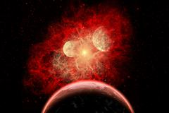 A supernova destroying its system of planets in the depths of our galaxy. Stock Illustration