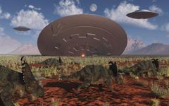 Centrosaurus dinosaurs walk past a UFO stuck in the ground. Stock Illustration