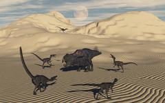 A pack of Velociraptors encircling a lone Protoceratops. Stock Illustration