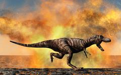 Tyrannosaurus Rex escaping from a violent fire storm. Stock Illustration