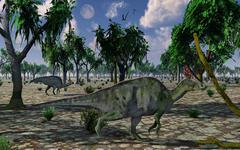 A pair of Olorotitan duckbilled dinosaurs on the move. Stock Illustration