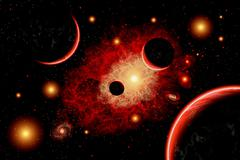 A red giant star system. - stock illustration