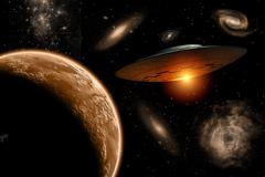 A UFO on its journey through the vastness of our galaxy. Stock Illustration