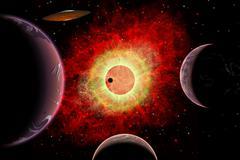 An alien flying saucer travels amongst alien worlds. Stock Illustration