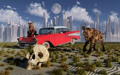 Sabre-toothed tigers find a 1950's American Chevrolet and signs of civilization. Piirros