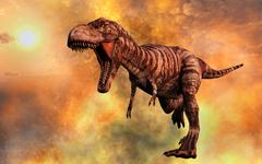 Tyrannosaurus Rex running from a deadly fire storm. Stock Illustration