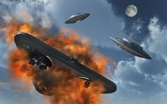 UFO's from different alien races fighting each other in the Earth's atmosphere. Stock Illustration