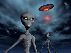 Grey Aliens and their flying saucer, visiting Earth. Stock Illustration