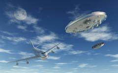A pair of silver metallic disc shaped UFO's buzzing a Boeing 747 commerical Stock Illustration