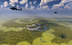 AH-64 Apache Black Ops helicopters flying around a crop circle with UFO at Stock Illustration