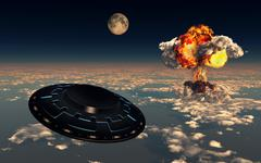 UFO sightings increased since the exploding of the first atomic bomb. Stock Illustration