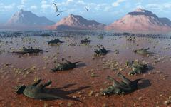 A herd of dead Centrosaurus dinosaurs killed by a flash flood. Stock Illustration