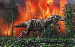 Tyrannosaurus Rex fleeing from a deadly forest fire. Stock Illustration