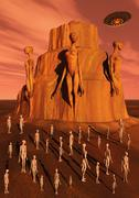 Martians gathering around a monument dedicated to their ancestors. Stock Illustration