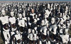 A lone android with a human flesh colored face amongst a crowd of robots. Stock Illustration