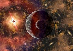 An alien planet and its moon in orbit around a red giant star. Stock Illustration