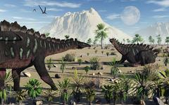A pair of stegosaurid Miragaia dinosaurs. Stock Illustration