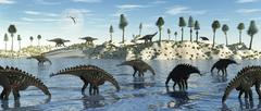 A herd of stegosaurid Miragaia dinosaurs grazing in a lake. Stock Illustration