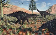 A small group of stegosaurid Miragaia dinosaurs. Stock Illustration