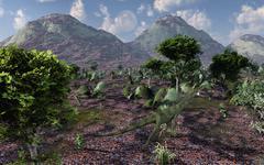 A lone carnivorous Juravenator during the Jurassic Period. Stock Illustration