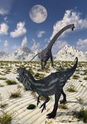 A carnivorous Allosaurus confronting a giant Diplodocus. Stock Illustration