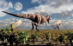 A hungry Tyrannosaurus Rex chasing a small group of Parasaurolophus. Stock Illustration