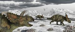 Albertaceratops during their winter migration. Stock Illustration