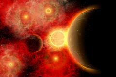 A vibrant star cluster with alien planets in orbit. Stock Illustration