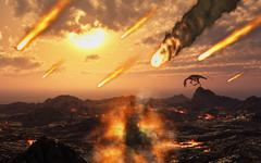A falling asteroid and meteorites mark the end of the dinsoaurs rule of the Stock Illustration