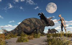 A reptoid using telepathy to communicate with a Albertaceratops dinosaur. Stock Illustration