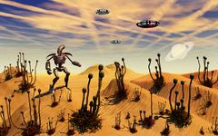 A robot tending to a desert garden located on a moon. Stock Illustration