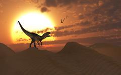 A carnivorous Allosaurus calling out across a desert landscape. Stock Illustration