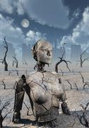 A broken down petrified android robot. Stock Illustration