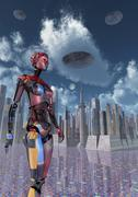 A futuristic city where robots and flying saucers are common place. Stock Illustration