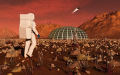 Astronaut walking across the surface of Mars towards a habitat dome. Stock Illustration