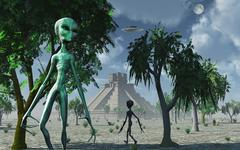 Artist's concept of aliens helping the Mayans build complex buildings. Stock Illustration